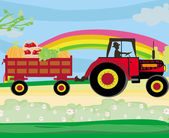 Man driving a tractor with a trailer full of vegetables — Vector de stock