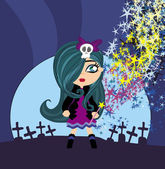 Cute little witch — Stock Vector