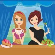 Stock Vector: Illustration of thick and thin girls in restaurant