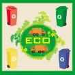Colorful recycle bins ecology concept with landscape and garbage — Stock Vector #37967919