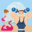 Man and woman exercises in the gym — Stock Vector #37967991