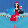 Beautiful pin-up girl in Christmas inspired costume card — Stock Vector #37968373