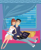 Couple relaxing at home — Stockvector