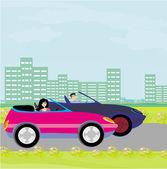 Drive a car on a sunny day — Stock Vector