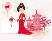 Geisha celebrated Chinese New Year — Stock Vector