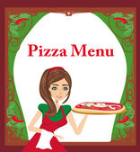 Smiling waitress serving pizza , menu card — Stock Vector