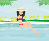 Young Woman Sunbathing by the Pool — Stock Vector