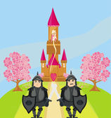 Knights guard the entrance to the castle — Stock Vector