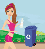 Girl recycling plastic bottles — Stock Vector