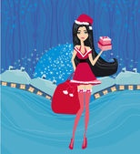 Beautiful pin-up girl in Christmas inspired costume card — Stock Vector