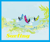 Surfers on a sunny day, abstract illustration — 图库矢量图片