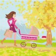 Stock Vector: Young mom taking her baby for stroll through park in autumn