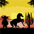 Постер, плакат: Man in a sombrero and his horse in desert sunset