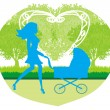 Beautiful wompushing stroller — Stock Vector #38247463