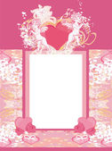 Happy valentines day vintage card with cupids and floral frame — Stock Vector