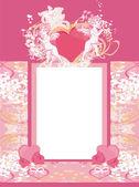 Heureuse saint valentin carte vintage avec amours et cadre floral — Vecteur