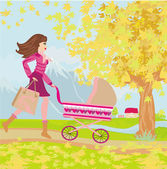 Young mom taking her baby for a stroll through park in autumn — Stock Vector