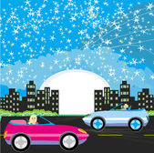 Night drive in a car — Stock Vector