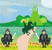 Prince riding a horse to the castle — Stock Vector