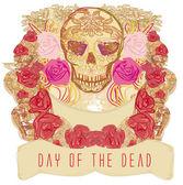 Schedel en bloemen dag van de doden — Stockvector