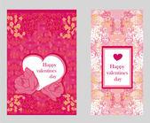 Conjunto de tarjeta del día de san valentín estilo vintage — Vector de stock