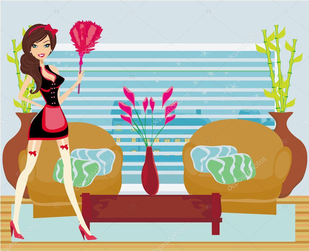 femme de m nage fran ais style pin up sexy nettoie la salle image vectorielle jackybrown. Black Bedroom Furniture Sets. Home Design Ideas
