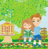 Chico y chica lectura libro — Vector de stock