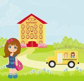 девочка, идущая в школу — Cтоковый вектор