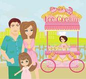 Ice Cream Mobile Shop — Stock Vector