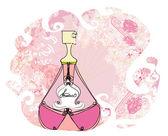Flaska parfym med en blommig doft — Stockvektor