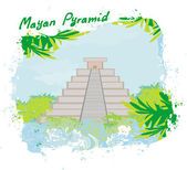 Mayan Pyramid, Chichen-Itza, Mexico - vector illustration — Stock Vector