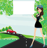 A beautiful police woman stops auto — Stock Vector