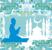 Abstract religious background - muslim man prays — Vector de stock