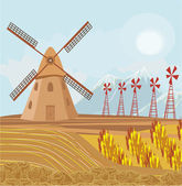 Landscape with windmill. — Stock Vector