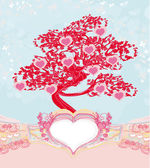 Abstract heart tree - beautiful valentines card — Stock Vector