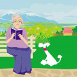 Old lady with dog in the park — Stock Vector