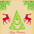 Christmas tree and red reindeer - background for your designs — Stock Vector