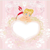 Valentines frame with a sweet cupid — Stock vektor