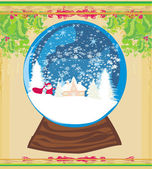 Santa Claus in a glass ball — Stock Vector