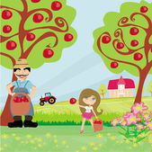 Farmer and his daughter in the orchard — Stock Vector