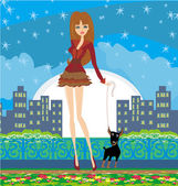 Sexy girl walking with a dog in the night — Stock Vector