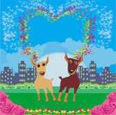 Cute dogs in love — Vector de stock