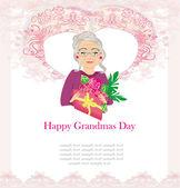 Mujer senior con un ramo de flores, las abuelas feliz día — Vector de stock