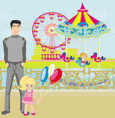 Child playing on the carousel — Stock Vector