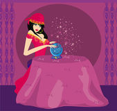 Fortune-teller with Crystal Ball — Stock Vector