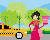 Elegant woman waiting for a taxi — Stock Vector