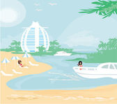Woman relaxes in the tropics — Stockvektor