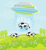 Alien cow abduction — Stock Vector