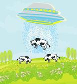 Alien cow abduction — Stock Vector