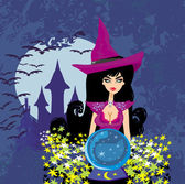 Beautiful witch with crystal ball. — Stock Vector